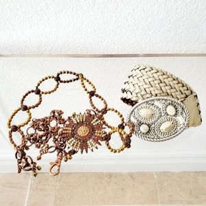 Chico's Silver Beaded  & Copper Rhinestone Belts